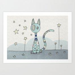 Blue Night-Cat Art Print