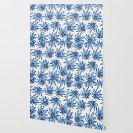 Tropical leaves - blue Wallpaper