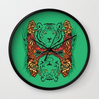 tigers Wall Clocks featuring Tigers by Ornaart