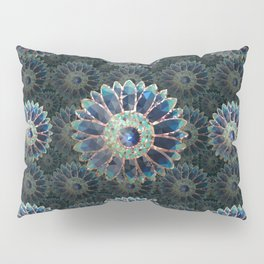 Mosaic flower, blue turquoise Pillow Sham
