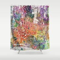 london map Shower Curtains featuring London map  by mark ashkenazi