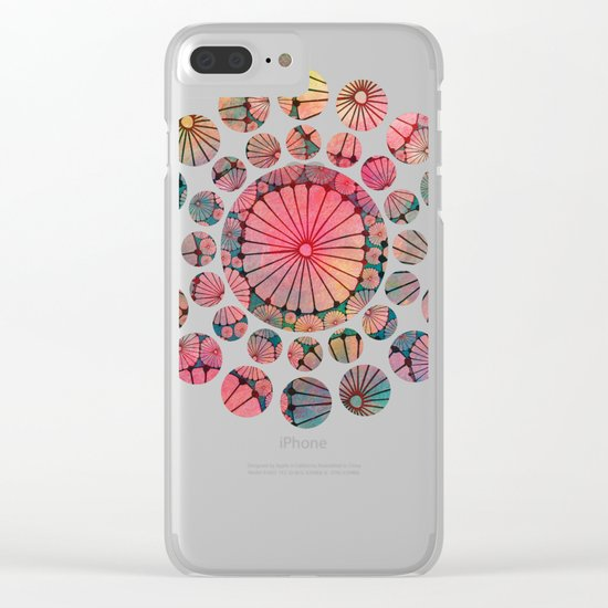 Abstract Floral Circles Clear iPhone Case