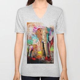 African Elephant Family Painting Unisex V-Neck