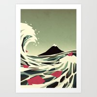 yetiland Art Prints featuring Go with the flow by Yetiland