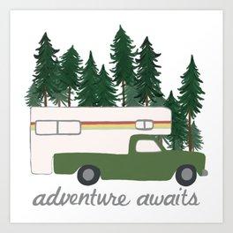 Adventure Awaits Truck Camper RV Camping Green Forest Art Print