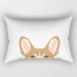 Welsh corgi peeking head corgis dog breed cute pet gifts Rectangular Pillow