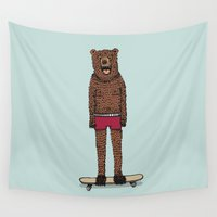 skateboard Wall Tapestries featuring Bear + Skateboard by Lara Trimming