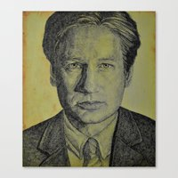mulder Canvas Prints featuring Mulder  by Jenn