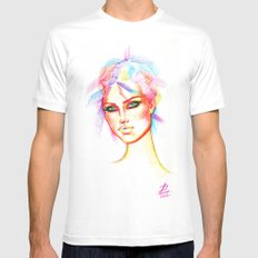 Rainbow Girl White MEDIUM Mens Fitted Tee