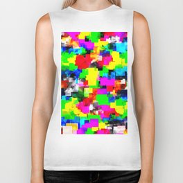 psychedelic geometric square abstract pattern in pink green yellow blue red Biker Tank