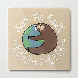 Save The Earth Sloth Metal Print