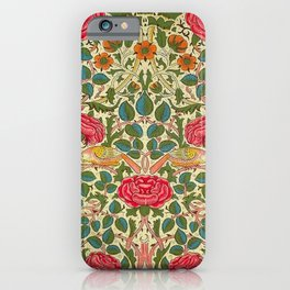 William Morris Roses Floral Textile Pattern iPhone Case