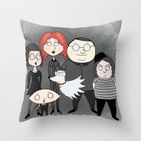 tim burton Throw Pillows featuring Tim Burton Family Guy by Grace Isabel