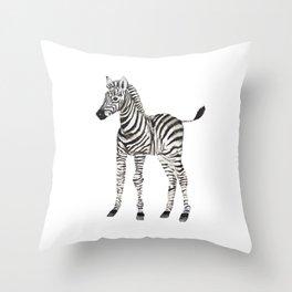 Watercolor baby zebra Throw Pillow