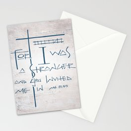 For I was a stranger and you invited Me in. Religious illustration Stationery Cards
