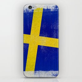 Swedish Distressed Halftone Denim Flag iPhone Skin
