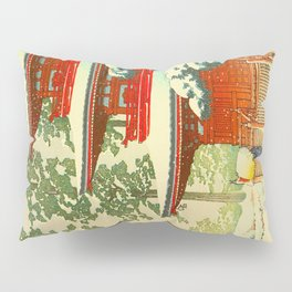 Vintage Japanese Woodblock Print Japanese Shinto Shrine Red Pagoda With Snow Capped Trees Pillow Sham