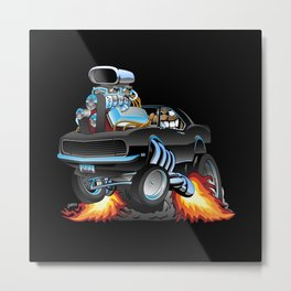 Classic Sixties American Muscle Car Popping a Wheelie Cartoon Illustration Metal Print