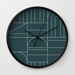 Deco Geometric 04 Teal Wall Clock