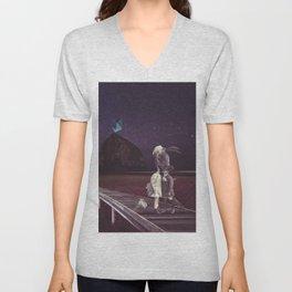 Kiss of love in space Unisex V-Neck
