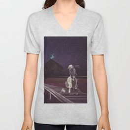Kiss of love in space Unisex V-Neck