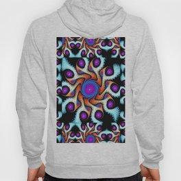 Tiled Swirly fractal pattern in purple, blue, orange and cream Hoody