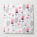 Mod Floral Pink + Gray by walltapestry