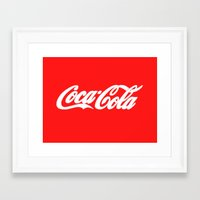 coca cola Framed Art Prints featuring Coca-Cola by Rebekhaart