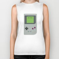gameboy Biker Tanks featuring Retro Gameboy by Alex Boatman