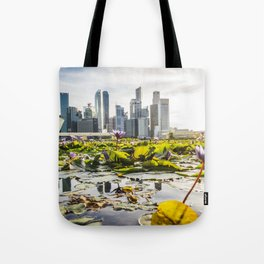 Singapore skyline and financial district Tote Bag
