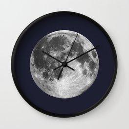 Full Moon on Navy Minimal Design Wall Clock