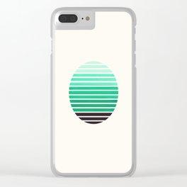 Teal Green Mid Century Modern Minimalist Scandinavian Colorful Stripes Geometric Pattern Round Circl Clear iPhone Case