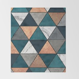 Copper, Marble and Concrete Triangles 2 with Blue Throw Blanket