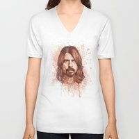 dave grohl V-neck T-shirts featuring Dave Grohl by Renato Cunha