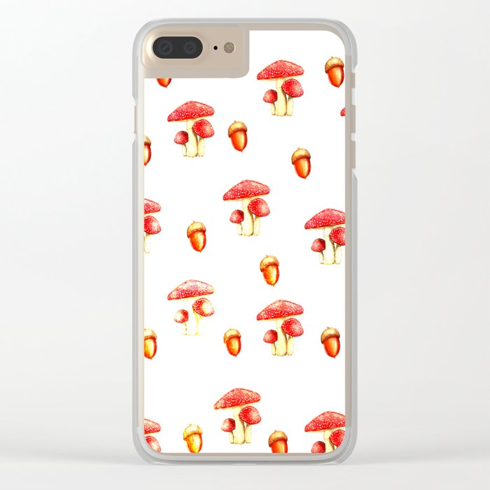 Mushrooms and Acorns Clear iPhone Case