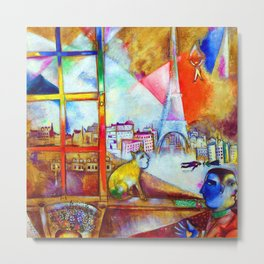 'Paris Through the Window - Eiffel Tower, Seine, & Left Bank' by Marc Chagall Metal Print