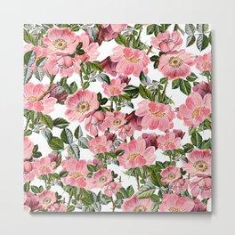 Vintage forest green pink coral bohemian floral Metal Print