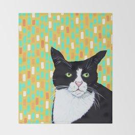 Portrait of Jasper the Cat Throw Blanket