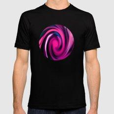 Pink Swirl MEDIUM Black Mens Fitted Tee