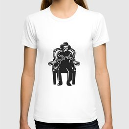 Man Gagged Chained to Grand Arm Chair Woodcut T-shirt
