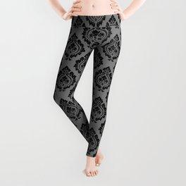 Decorative Damask Pattern Black on Gray Leggings