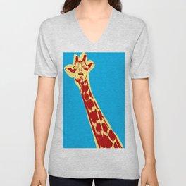 Giraffe picture over light blue background in pop art style Unisex V-Neck