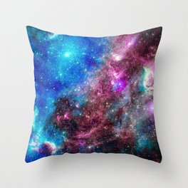 Red and Blue Galaxy Throw Pillow