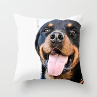 rottweiler Throw Pillows featuring Happy rottweiler by StarsColdNight