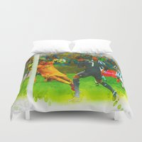 ronaldo Duvet Covers featuring Cristiano Ronaldo - Job Done by Don Kuing