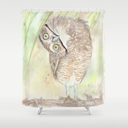 """Watercolor Painting of Picture """"Vizcachera Owl"""" Shower Curtain"""