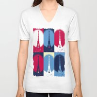 eiffel tower V-neck T-shirts featuring Eiffel Tower by Aloke Design