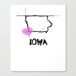 Love Iowa State Sketch USA Black Art Tees Canvas Print