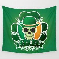 irish Wall Tapestries featuring Lucky Irish  skull by mangulica illustrations