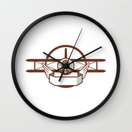 World War 1 Pilot Airman Spad Biplane Circle Retro Wall Clock